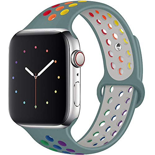 Hotflow Compatible with Apple Watch Band 38mm 40mm,Soft Silicone Sport Wristband for iWatch Series 5, Series 4, Series 3, Series 2, Series 1, S/M,Pine-Green-Colorful