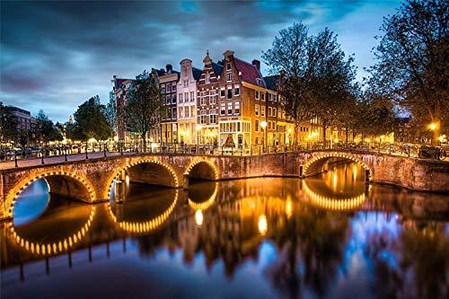 Rompecabezas De Madera 1000 Piezas Amsterdam,Luces Puente Reflejo,Decoraciones Y Regalos Únicos Para El Hogar