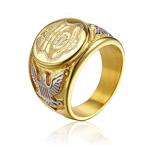 JAJAFOOK Vintage Titanium Steel US Police Officer Military Ring Medal Rings for Men, Silver/Gold/Black (Gold with Silver, 11)