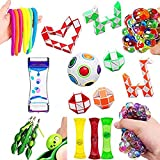 Interesty Sensory Fidget Toy Set Stress Relief Squeeze Toys with Squeeze Bean, Marble and Mesh, Flippy Chain, Grape Ball, Maze Cube and More for Kids Adults