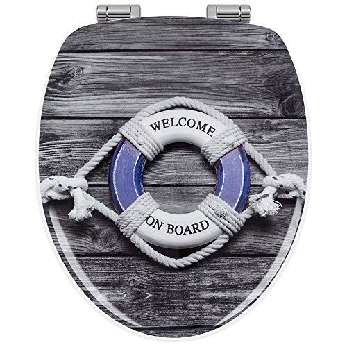 Sanwood WC Sitz mit Absenkautomatik, Made in Europa, abnehmbarer ovaler Toilettensitz, Antibakterieller Toilettendeckel mit Holzkern, verstellbaren Scharnieren, O-Form universal WC Deckel