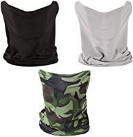 3 PCS Neck Gaiter Fishing Mask Bandana Sun Wind Dust Protection UV Headwear Balaclava Magic Scarf for Men Women Hunting,...