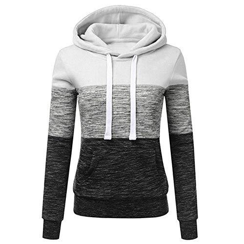TOPKEAL Frauen Hoodie Pullover Damen Kapuzenpullover Streifen Sweatshirt Winterpullover Langarm Jacke mit Kapuze Tasche Mantel Tops Blouse Pulli (Weiß, XXXXXL)