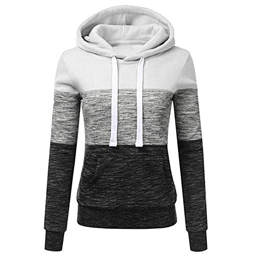Yvelands Damen Sweatshirt Beiläufige Hoodies Weisewunden Patchwork Damen mit Kapuze Blusen Pullover Mantel