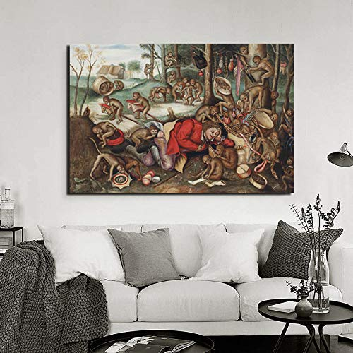 KWzEQ Berühmter Maler AFFE Musik Wandkunst Leinwand Poster Moderne Bild Wand Wohnzimmer Hauptdekoration,Rahmenlose Malerei,30x45cm