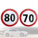 Kupink 4 Pezzi Contrassegno Limite velocità 70 e 80 km/h Omologati EU Adesivo del Segnale Stradale sulla velocità Massima consentita per Auto 10 cm Ø