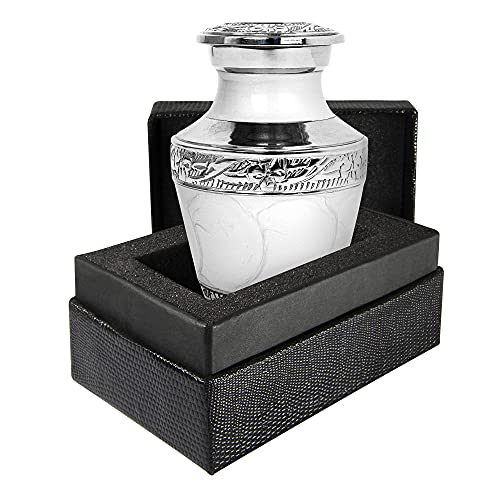 Cherishedly Yours Keepsake Urn for Human Ashes with Velvet Heart Case and Funnel Small Beautiful Peaceful Dark Blue Brass Hand Engraved Mini Memorial Cremation Urn