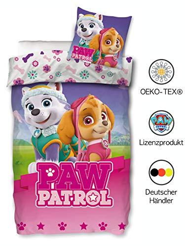 Paw Patrol Mädchen Bettwäsche 135x200 cm 80x80 cm Kissenbezug Kinderbettwäsche Bettbezug Baumwolle Öko-Tex Standard 100 Deutsche Größe