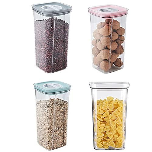 Almacenamiento de alimentos de 4pcs, recipiente de almacenamiento Tanque de almacenamiento de plástico transparente con cocina de tapa Caja de almacenamiento de grano entero para harina y cereales