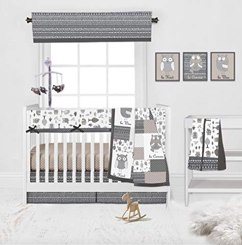 Bacati Owls Beige/Grey for a Boy, Girl or Gender Neutral 10-Piece Nursery in a Bag Unisex Baby Nursery Crib Bedding Set with Long Crib Rail Guard for US Standard Crib 100 Percent Cotton