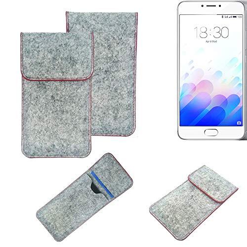 K-S-Trade Handy Schutz Hülle Kompatibel Mit Meizu M3 Note Schutzhülle Handyhülle Filztasche Pouch Tasche Hülle Sleeve Filzhülle Hellgrau Roter Rand