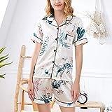 QWKLNRA Pijama Verano Mujer Corto Pijamas De Seda para Mujer Camisón Vestido De Noche Vestido De Salón Transpirable Mangas Cortas Señoras Ropa De Dormir Impresión Dos Piezas Set Camisón De Pij