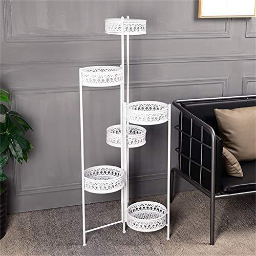 Eisen Blumenregale Metall Stehende Blume Regal für 6 Pflanzen Blumentöpfe Halter Regale Moderne Stand Rack Garten Lagerung Regal,Weiß