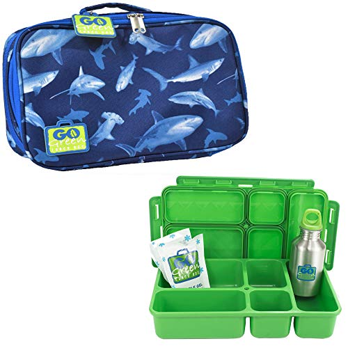 Go Green Lunch Box Set • 5 Compartment Leak-Proof Lunch Box • Insulated Carrying Bag • Beverage Bottle • Gel Freezer Pack (Shark Frenzy)