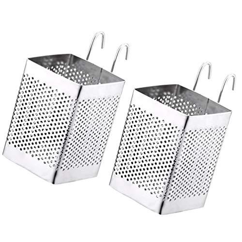Cabilock 2 Piezas de Utensilios de Cocina Carrito de Palillos de Acero Inoxidable Soporte Estante de Secado Cesta Vajilla Escurridor con Ganchos para Cocina Restaurante Hogar
