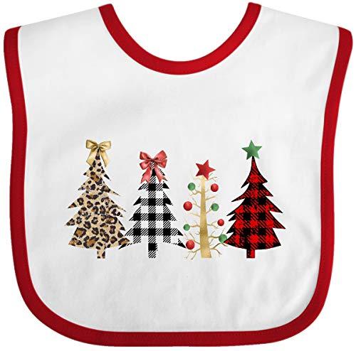 Inktastic Pretty Christmas Trees Baby Bib White and Red 3cdf4