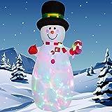 DUDNJC Muñeco de nieve inflable de 1,8 m con sombrero de cilindro, bastón de caramelo con luces LED giratorias de colores integradas, decoración para fiestas de Navidad