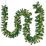 Juskys Weihnachtsgirlande 10m künstlich mit Beleuchtung – Lichterkette mit 200 LED warm-weiß IP44 - Tannengirlande für Innen & Außen – Weihnachtsdeko