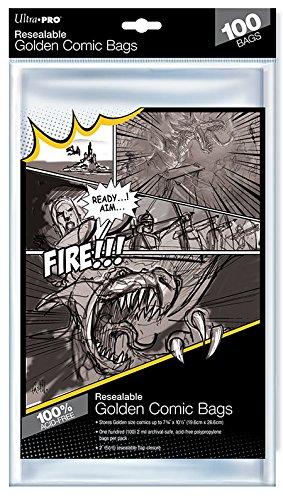 Ultra Pro Golden Size 7-3/4' X 10-1/2' Bolsas de cómics resellables