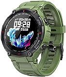 Reloj Inteligente Hombres Deporte Fitness Pulsera Inteligente Bluetooth Llamada Multifunción Control Música Reloj de Alarma Recordatorio Reloj Smartwatch Reloj de Pulsera para Teléfono Gris-Verde