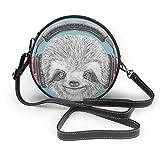 Judascepeda Leather Round Shoulder Bag Style Sloth DJ Sloth Portrait with Headphones Funny
