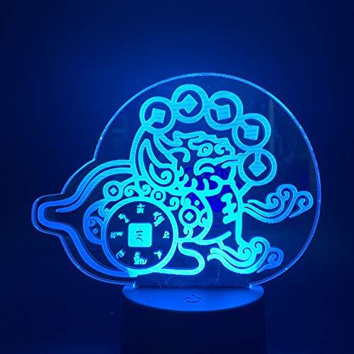 3D nachtlampje, beschermer, 7 kleuren, afstandsbediening, noot, slaapkamer, lamp, hoofddecoratie, kinderkerstcadeau