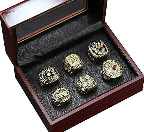 6 PCS Pittsburgh Steelers Golden Championship Rings Set, für Fans Replica Geschenksammlung mit Vitrine Größe 10 und 11-11