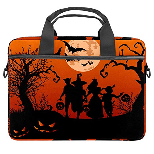 Bolsa de mensajero de Halloween para niños Silueta para ordenador portátil con bolsa de hombro Crossbody Bolsa de ordenador y tableta para 13.4-14.5 pulgadas