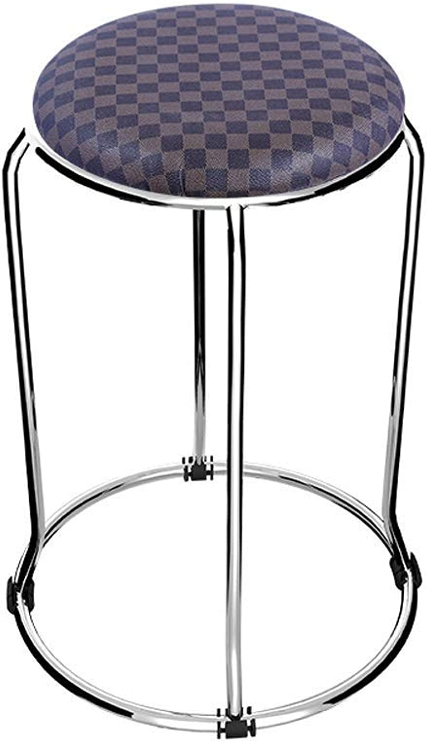 Stainless Steel Stool Home Fashion Creative Stool High Stool HENGXIAO (color   Variegated)