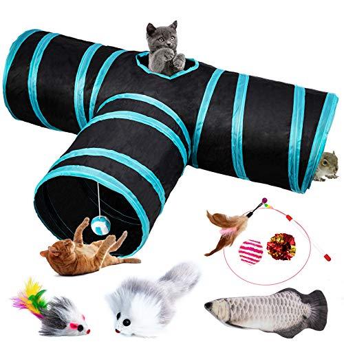 DMSL Túnel de Juguete para Gatos, túnel para Mascotas, túnel de 3 vías para Mascotas, túnel para Mascotas, túnel, Tubo para Gatos, Adecuado para Gatitos, Cachorros, Conejos, Perros pequeños.