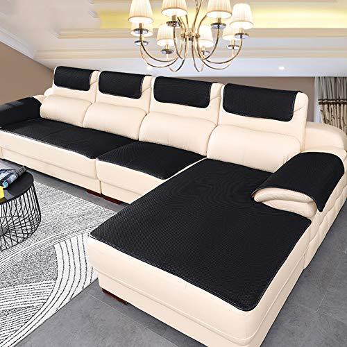 BK&MF Sofa Abdeckung Für Ledercouch, Super rutschfeste Sofa Dämpfung Couch überwurf Für Haustiere, Sofa Möbel Protector Separat Erhältlich-schwarz 70x70cm(28x28inch)