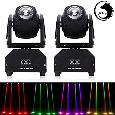 UKing LED Moving Head Lights with DMX512 Sound Activated RGBW Beam Light for DJ Disco Party Club Stage Lighting (2 PCS)