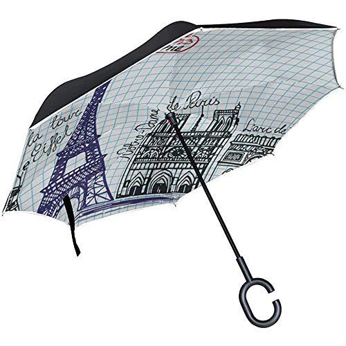 Alice Eva Umgekehrter Regenschirm Umgekehrter Regenschirm Notre Dame De Paris Handgemalter umkehrbarer Regenschirm