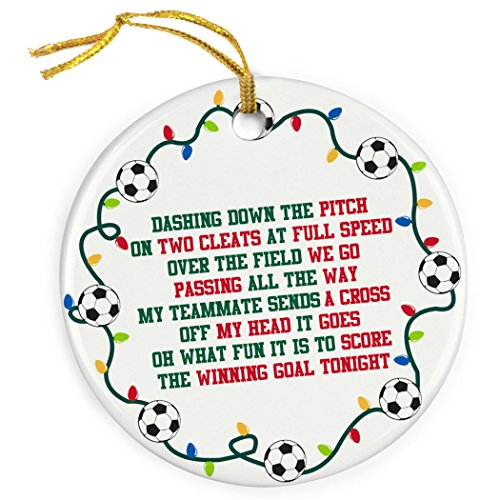 ChalkTalkSPORTS Jingle All The Way Christmas Ornament | Soccer Porcelain Ornaments