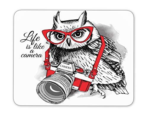 Eule In Roter Brille Mit Einer Kamera Mauspad, Naturkautschuk Mauspad, Qualität Kreative Handgelenk Geschützte Armbänder Personalisierten Schreibtisch, Mauspad