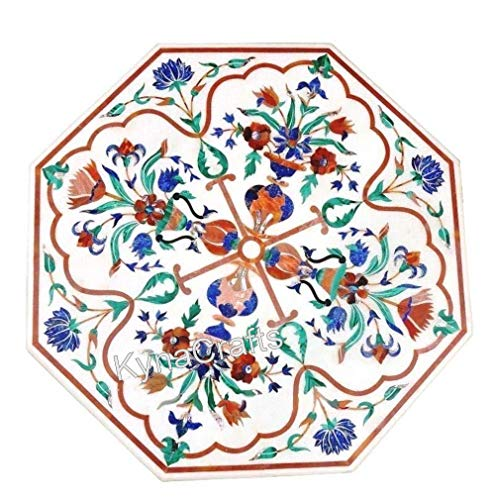 24 x 24 Inches Octagonal White Coffee Table Top with Semi Precious Stones Work Pietra Dura Art End Table Top from India