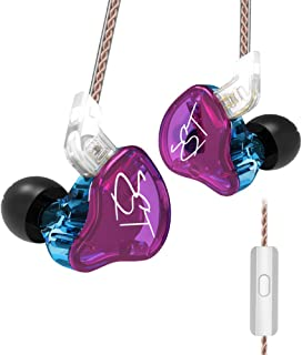 KZ ZST Pro 3.5mm Wired In Ear Headphones w/Microphone HiFi Music Earphones Sports Headset with Replacement Earphone Cable Headset Purple
