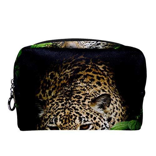 Kosmetiktasche Womens Makeup Bag Für Reisen zum Tragen von Kosmetika wechseln Sie die Schlüssel usw.,Jaguar-Porträt