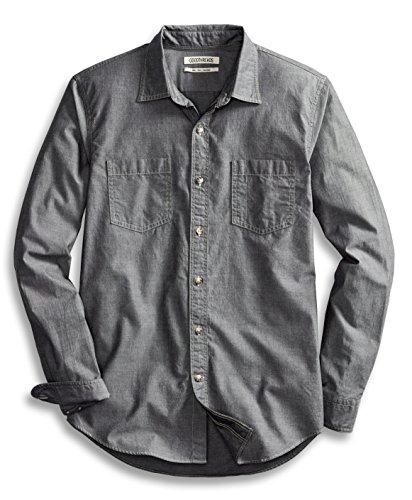 Goodthreads Men's Slim-Fit Long-Sleeve Double Pocket Work Shirt, Grey, Large