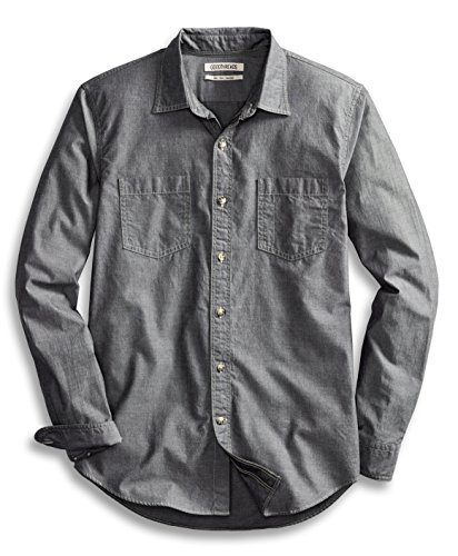 Goodthreads Men's Slim-Fit Long-Sleeve Double Pocket Work Shirt, Grey, Large