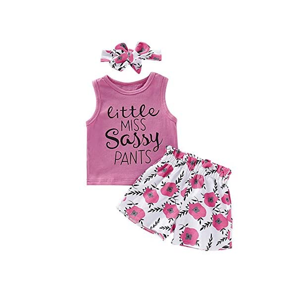 Toddler Baby Girl Clothes Floral T-Shirt Tops Vest Pants Shorts Infant Summer Outfits...
