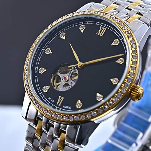 MXRLZX Reloj mecánico Reloj automático Reloj de los Hombres de la Correa de Acero de Lujo de los Hombres de Negocios (Color : Black)