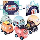 Baby Toy Cars with Play Mat Storage Bag, 6PCS Push and Go Car Toddler Toy Set, Kids Toy for 1 2 3 4 5 6 Year Old Boys Girls Early Educational Toys Children Kids Birthday Gift