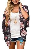 YULOONG para Mujer Cover Ups Gasa Estampado Floral Kimono Suelto Chal cárdigan Boho Verano Blusa Informal Top Sexy Playa Traje de baño Capas