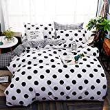 NOKOLULU Farmhouse Black Polka Dot Print on White Duvet Cover Set with Zipper Closure - Ultra Soft Brushed Hypoallergenic Bedding for Men & Women (Twin, White)