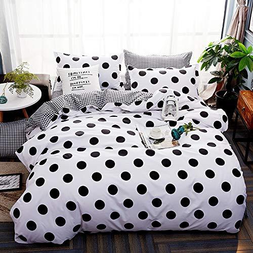 Nokolulu Farmhouse Black Polka Dot Print on White Duvet Cover Set with Zipper Closure - Ultra Soft Brushed Hypoallergenic Bedding for Men & Women (King, White)