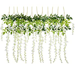 Foraineam 12 Pack 3.6 Feet/Piece Artificial Wisteria Vine Rattan Hanging Garland Fake Silk Wisteria Flowers String Home Party Wedding Decor