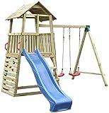 Spielturm 8A inkl. Wellenrutsche, Doppelschaukel-Anbau und Kletterwand - Abmessungen: 345 x 370 cm