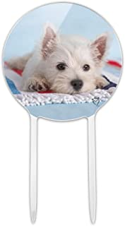GRAPHICS & MORE Acrylic West Highland Terrier Westie Puppy Dog Beach Towel Cake Topper Party Decoration for Wedding Anniversary Birthday Graduation
