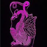 AI LI WEI Luz de Noche, Papel Estilo luz de la Noche Antiguo Dragón Decoración Iluminación Chino Corte dragón de Vuelo de 7 Colores lámpara del Cambio LED de Mesa